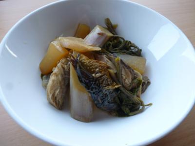 鯖なまりと山菜の煮物